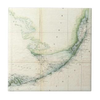 Vintage Map of The Florida Keys (1859) Tile