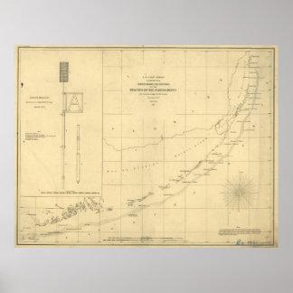 Vintage Map of The Florida Keys (1861) Poster