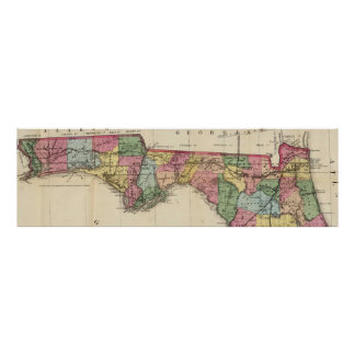 Vintage Map of The Florida Panhandle (1870) Poster