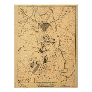 Vintage Map of The Gettysburg Battlefield (1863) 2 Poster