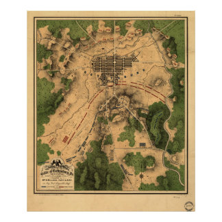 Vintage Map of The Gettysburg Battlefield (1863) 3 Poster