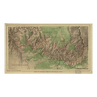 Vintage Map of The Grand Canyon (1926) Poster