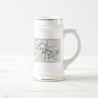 Vintage Map of The Great Lakes (1696) Beer Stein