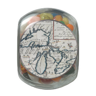 Vintage Map of The Great Lakes (1696) Jelly Belly Candy Jars