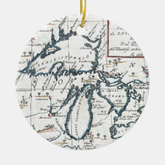 Vintage Map of The Great Lakes (1696) Ceramic Ornament