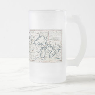Vintage Map of The Great Lakes (1696) Frosted Glass Beer Mug