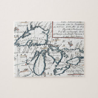 Vintage Map of The Great Lakes (1696) Jigsaw Puzzle