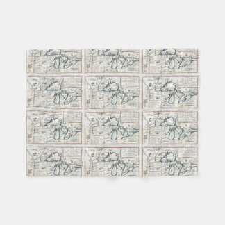 Vintage Map of The Great Lakes (1696) Fleece Blanket