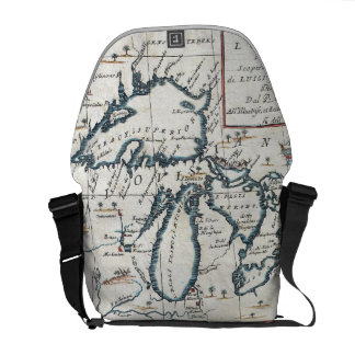 Vintage Map of The Great Lakes (1696) Messenger Bag