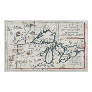 Vintage Map of The Great Lakes (1696) Print