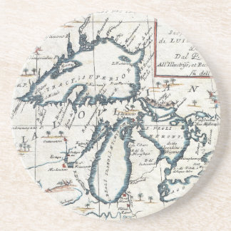 Vintage Map of The Great Lakes (1696) Sandstone Coaster