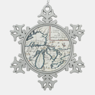 Vintage Map of The Great Lakes (1696) Snowflake Pewter Christmas Ornament
