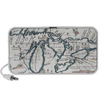 Vintage Map of The Great Lakes (1696) iPod Speakers
