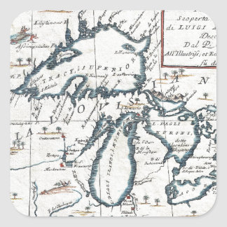 Vintage Map of The Great Lakes (1696) Square Sticker