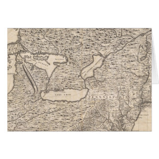 Vintage Map of The Great Lakes (1733) Greeting Card