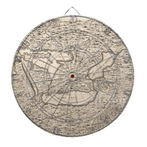 Vintage Map of The Great Lakes (1733) Dart Board