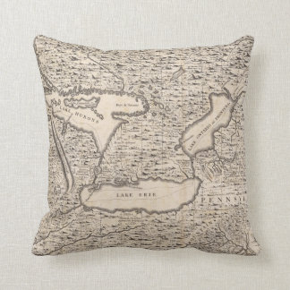 Vintage Map of The Great Lakes (1733) Pillow