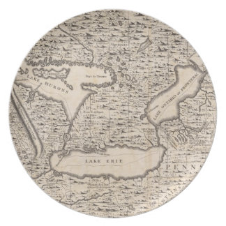 Vintage Map of The Great Lakes (1733) Party Plates