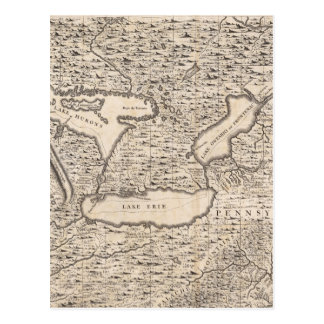 Vintage Map of The Great Lakes (1733) Postcard