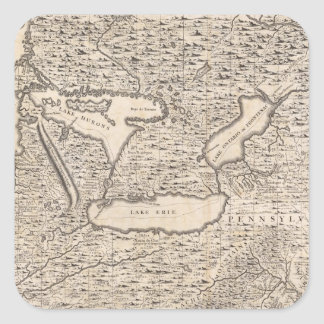 Vintage Map of The Great Lakes (1733) Square Sticker