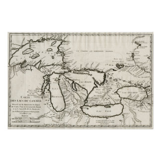 Vintage Map of The Great Lakes (1744) Poster