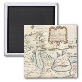 Vintage Map of The Great Lakes (1755) 2 Inch Square Magnet