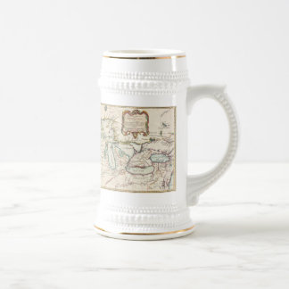 Vintage Map of The Great Lakes (1755) Beer Stein