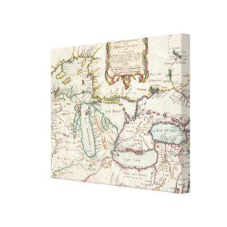 Vintage Map of The Great Lakes (1755) Canvas Print