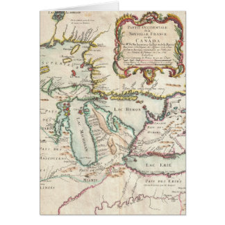 Vintage Map of The Great Lakes (1755) Greeting Card