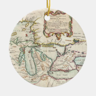 Vintage Map of The Great Lakes (1755) Ceramic Ornament