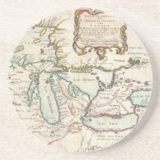 Vintage Map of The Great Lakes (1755) Beverage Coasters