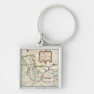 Vintage Map of The Great Lakes (1755) Silver-Colored Square Keychain