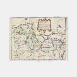 Vintage Map of The Great Lakes (1755) Fleece Blanket