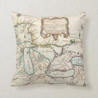 Vintage Map of The Great Lakes (1755) Pillows