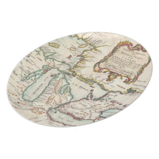 Vintage Map of The Great Lakes (1755) Plate