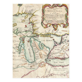 Vintage Map of The Great Lakes (1755) Postcard