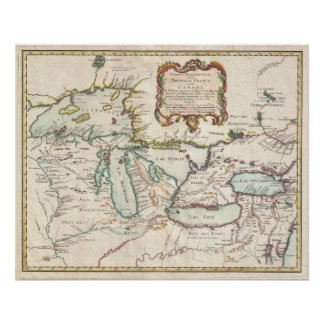 Vintage Map of The Great Lakes 1755 Poster
