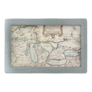 Vintage Map of The Great Lakes (1755) Rectangular Belt Buckles