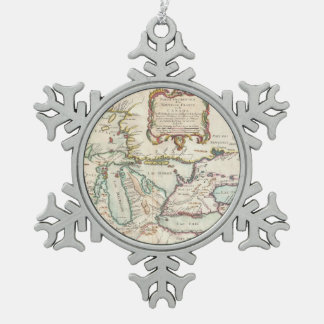 Vintage Map of The Great Lakes (1755) Snowflake Pewter Christmas Ornament