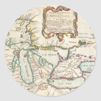 Vintage Map of The Great Lakes (1755) Classic Round Sticker