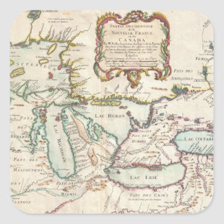 Vintage Map of The Great Lakes (1755) Square Sticker