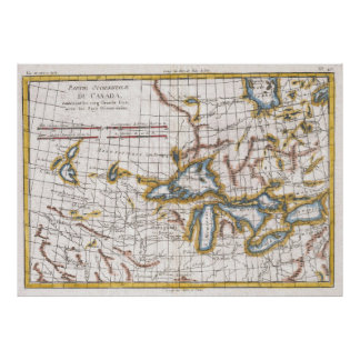 Vintage Map of The Great Lakes & Canada (1780) Poster