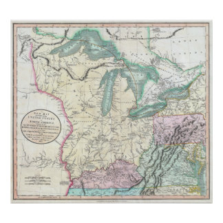 Vintage Map of The Great Lakes & Midwest (1801) Poster