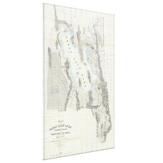 Vintage Map of The Great Salt Lake (1852) Canvas Print