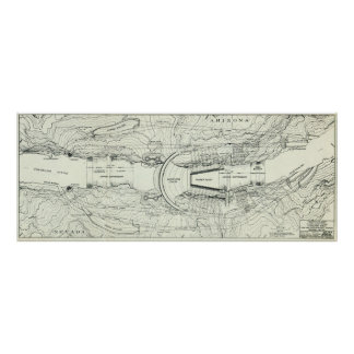 Vintage Map of The Hoover Dam (1930) Poster