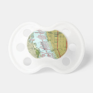 Vintage Map of the Hudson River and Manhattan Baby Pacifiers