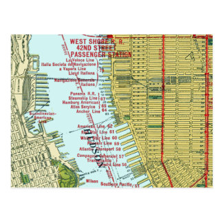 Vintage Map of the Hudson River and Manhattan Postcard