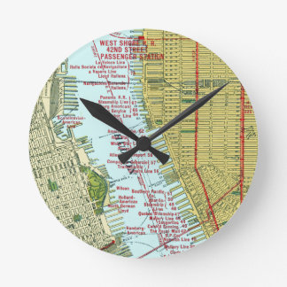 Vintage Map of the Hudson River and Manhattan Round Wall Clocks