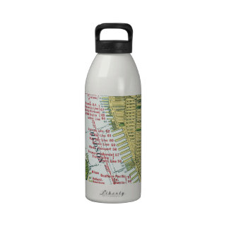 Vintage Map of the Hudson River and Manhattan Reusable Water Bottles