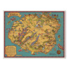 Vintage Map of the Island of Kauai Poster